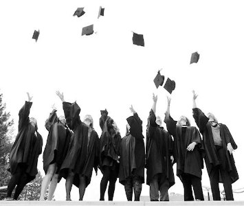Graduates Tossing Hats in Air