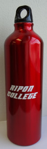 Side view of Ripon College water bottle