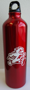 Side view of Ripon College water bottle with mascot