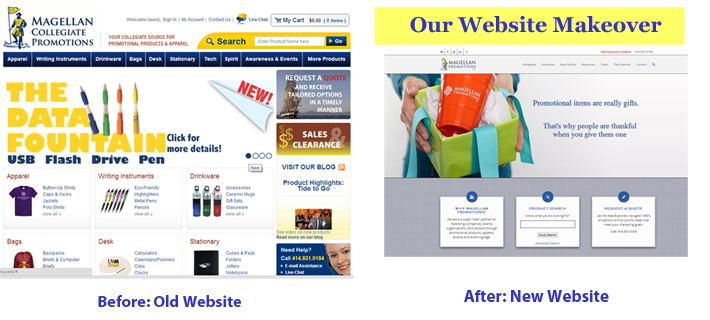 Magellan Promotions Before and After Website Makeover