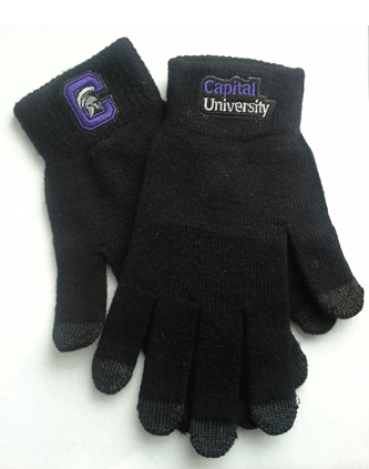Texting Gloves with logo on cuff