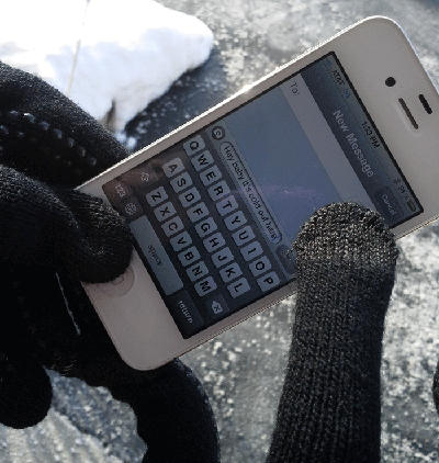 action shot texting gloves in use