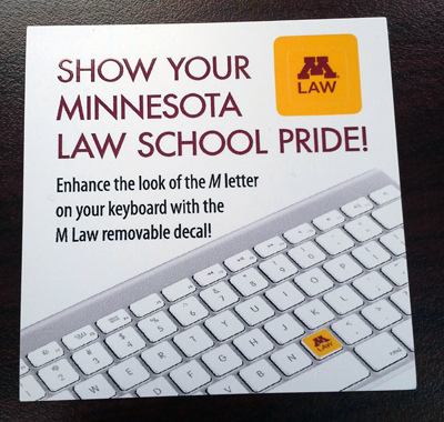 Minnesota Law School keyboard decal