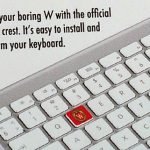 Keyboard sticker shows love for school
